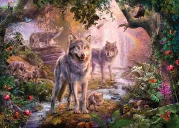 Ravensburger 15185 Puzzle 1000 Teile -  Wolfsfamilie im Sommer