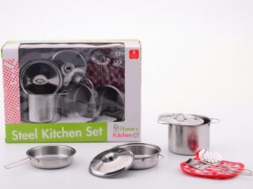 JOHNTOY 27490 Edelstahl-Kochtopfset für Kinder
