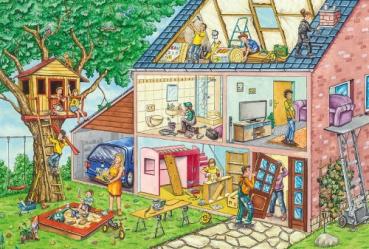 Schmidt-Spiele 56375 Kinderpuzzle - Die fleißigen Handwerker + Werkzeug-Set