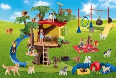 Schmidt-Spiele 56403 Kinderpuzzle - Schleich, Fröhliche Hunde mit Add-on (Original Figur)