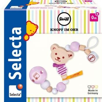 STEIFF by Selecta® 64302 Schnullerkette Bär - rosa